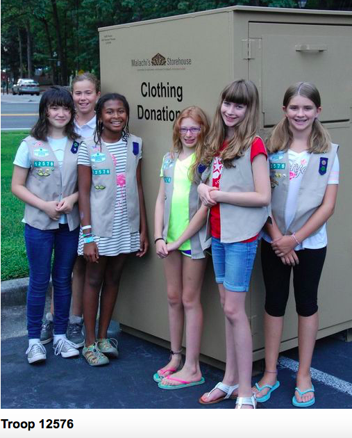 Girl Scout Troop Gives Malachi's a Clothing Bin